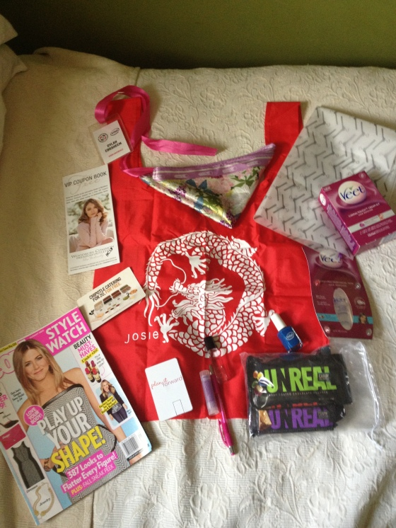 Contents of my swag bag! People StyleWatch, Josie tote, $400 Chipotle coupon, UnReal candy, Veet products, Intel Nail Polish, perfume, etc.